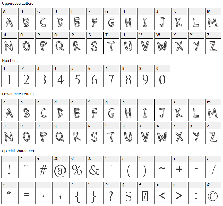 Denne Threedee Font Character Map