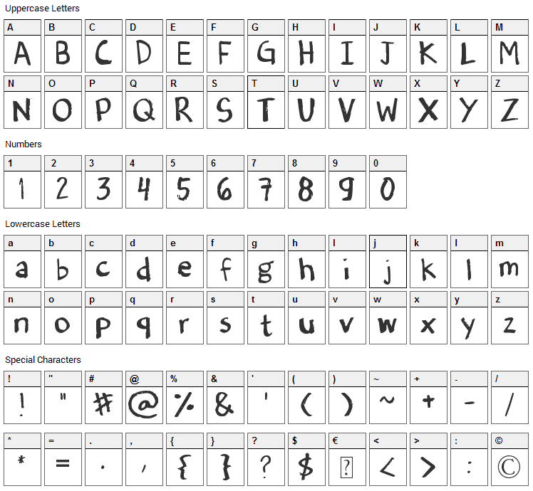 Dennes Old Handwriting Font Character Map