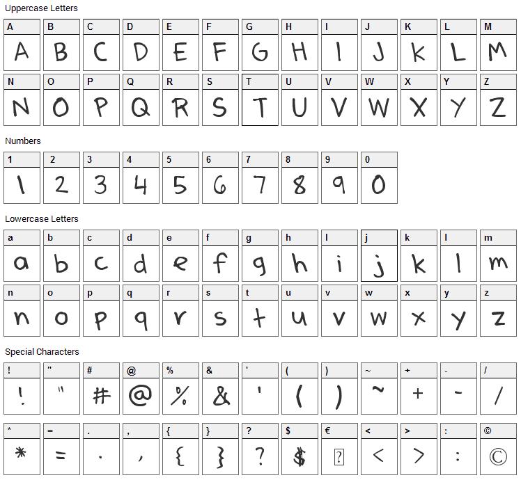 Dennes Pen Font Character Map