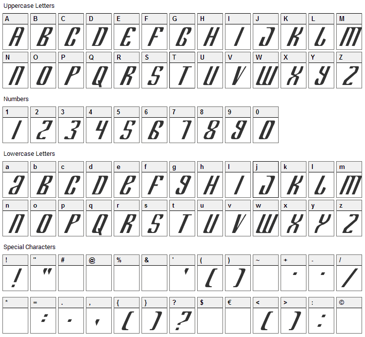 Department H+K Font Character Map