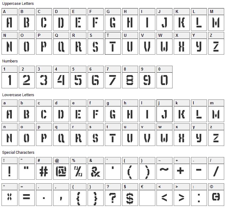 Depot Trapharet Font Character Map