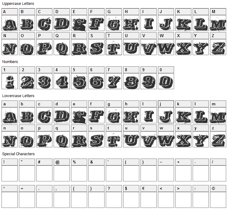 Depraved Font Character Map