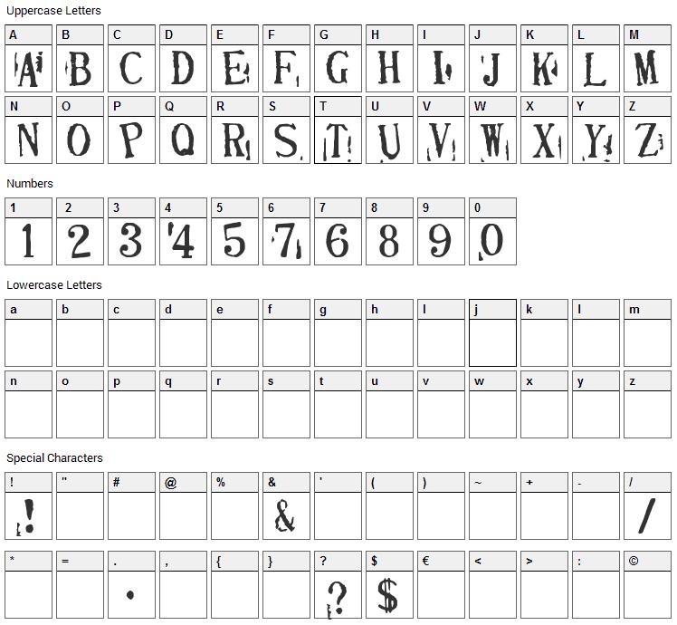 Depressionist 2 Font Character Map