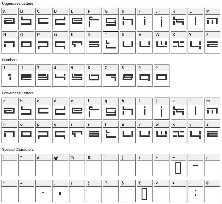 Depthcore Public Font Character Map