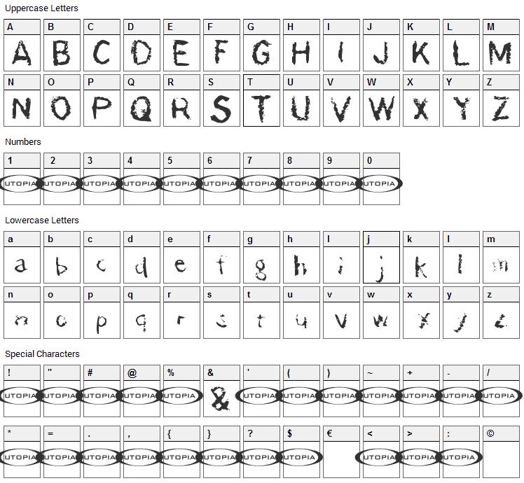 Der Damonschriftkegel Font Character Map