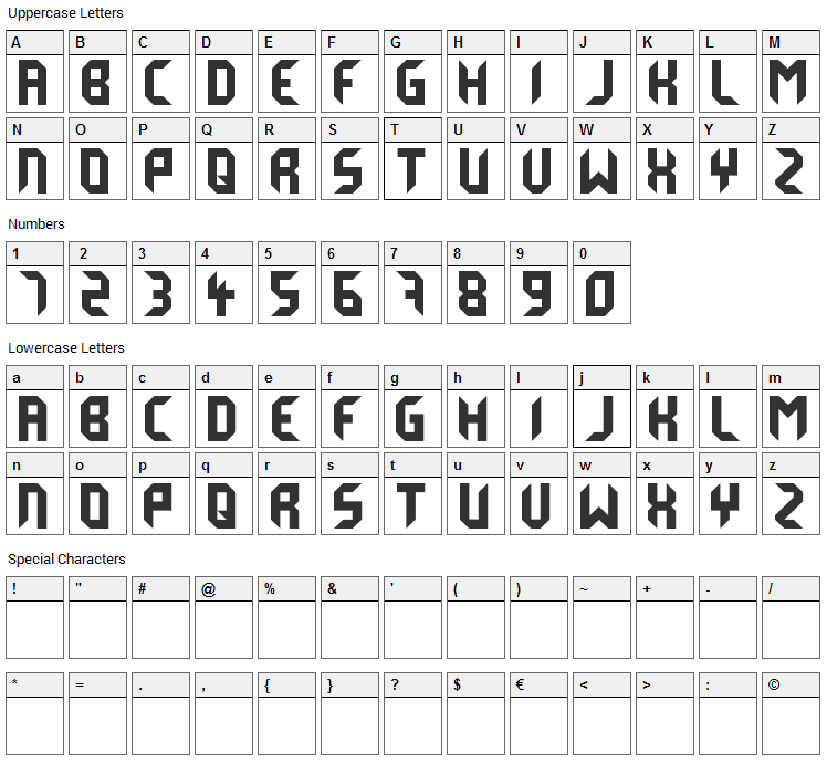 Derail Font Character Map