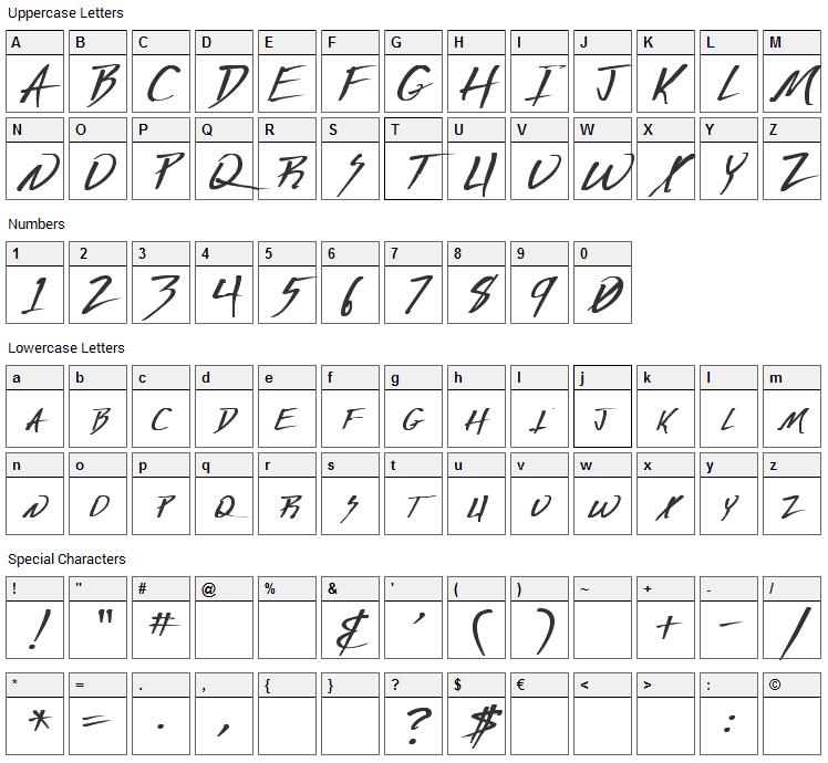 Deranged Font Character Map