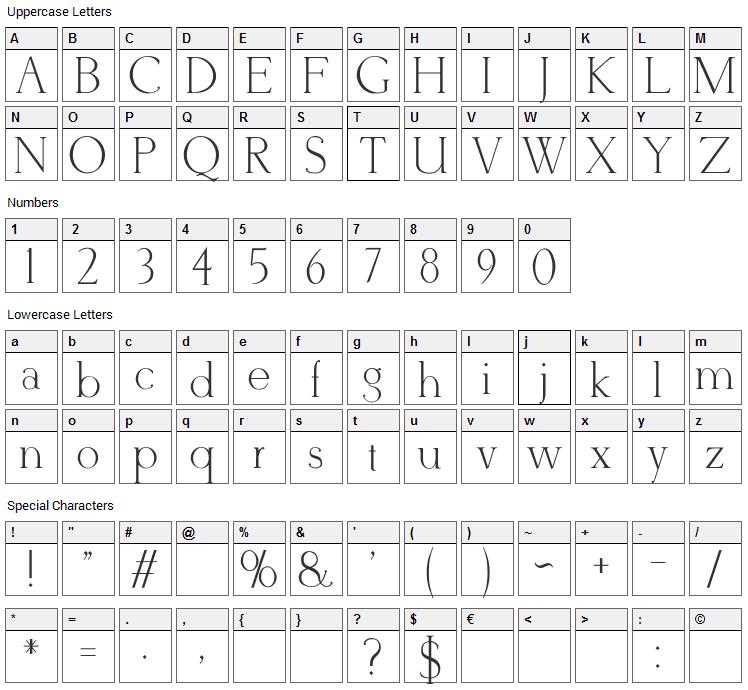 Derivia Font Character Map