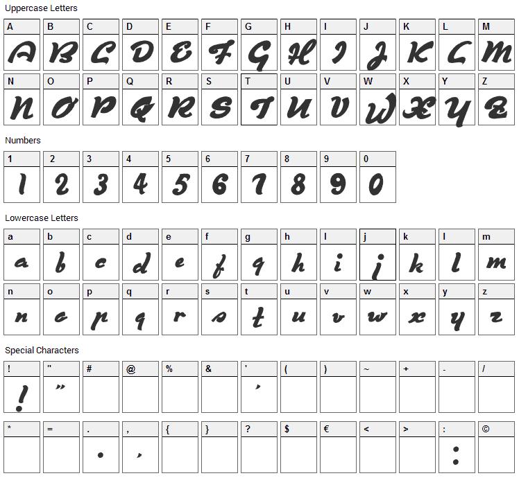 Derniere Script Font Character Map