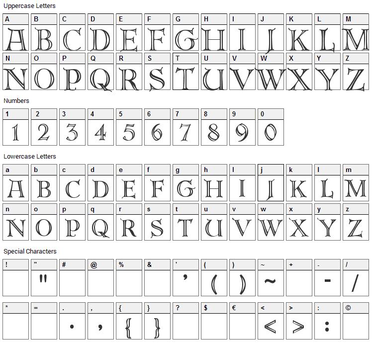 DeRoos Caps Font Character Map