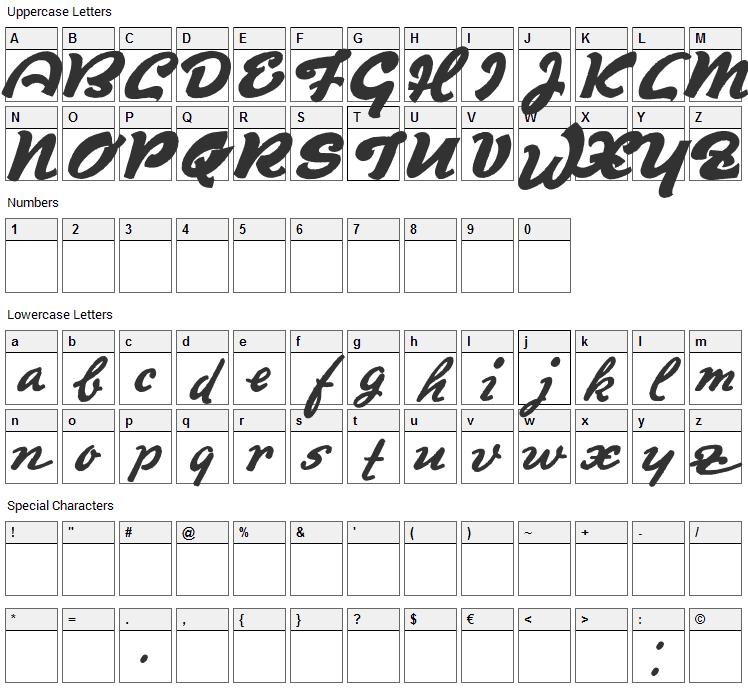 Derradeira Font Character Map