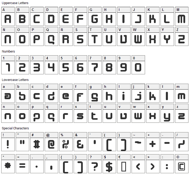 Desigers Font Character Map