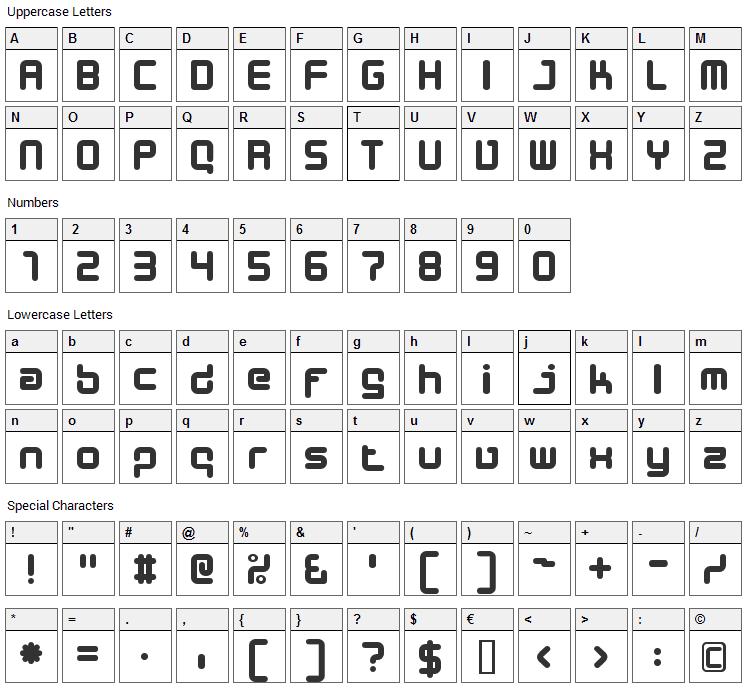 Designer Block Font Character Map