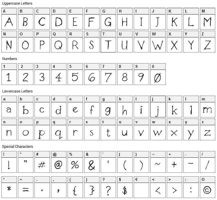 Designer Notes Font Character Map