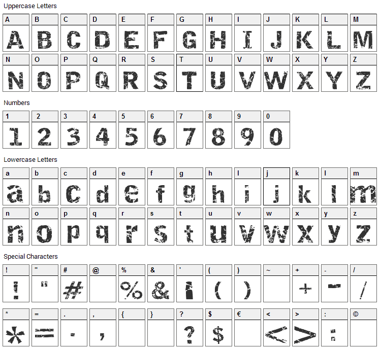 Destroy Font Character Map