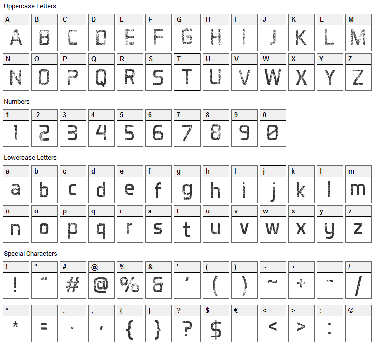 Destroyed Aero Font Character Map