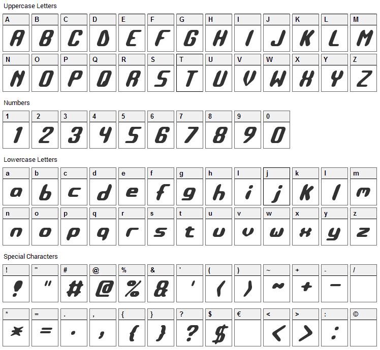 Detonate Font Character Map