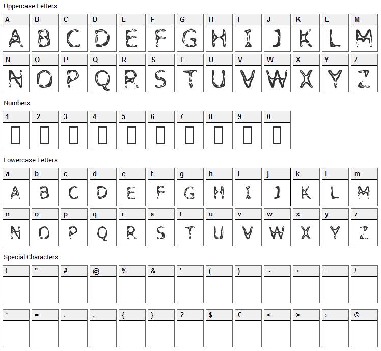 Detoxify Font Character Map