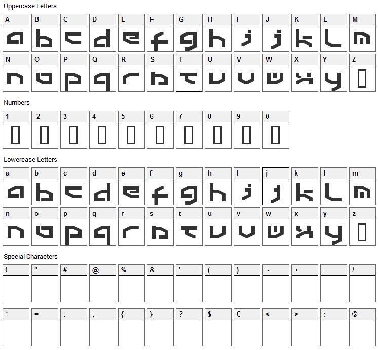 Detroit Font Character Map