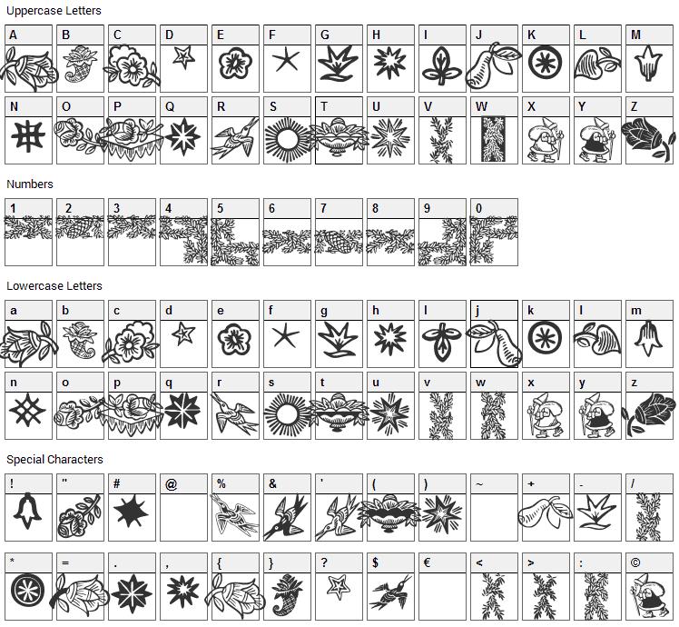 Deutscher Schmuck Font Character Map