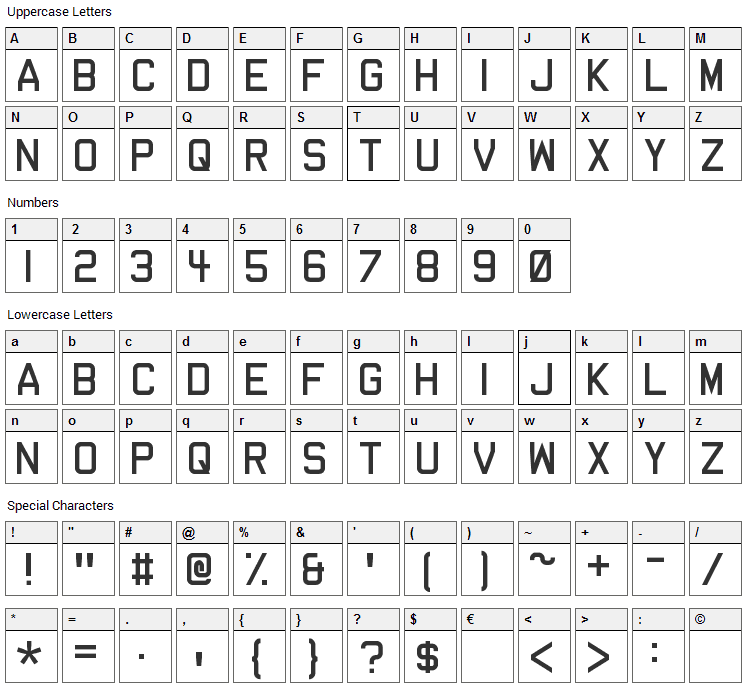 Dev Gothic Font Character Map