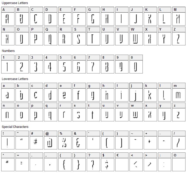 Devils Handshake Font Character Map