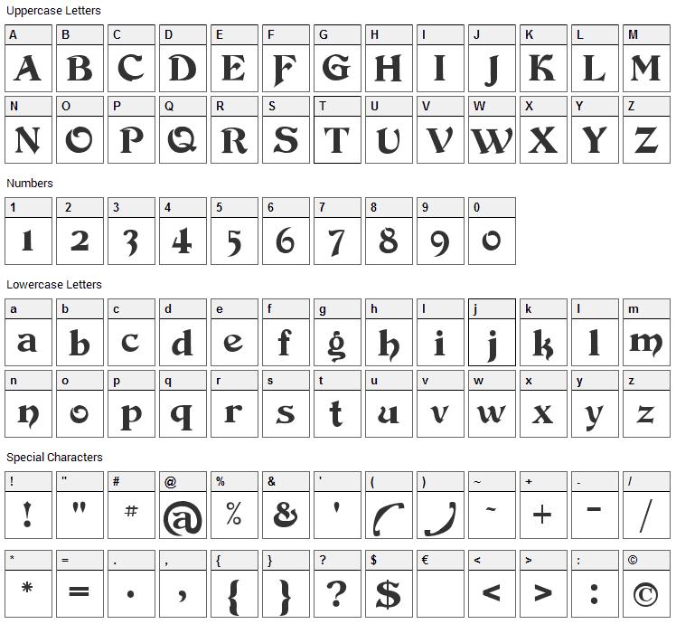 Devinne Swash Font Character Map