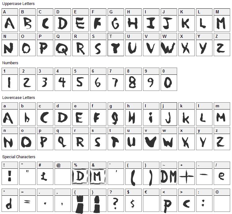 Devotion Font Character Map