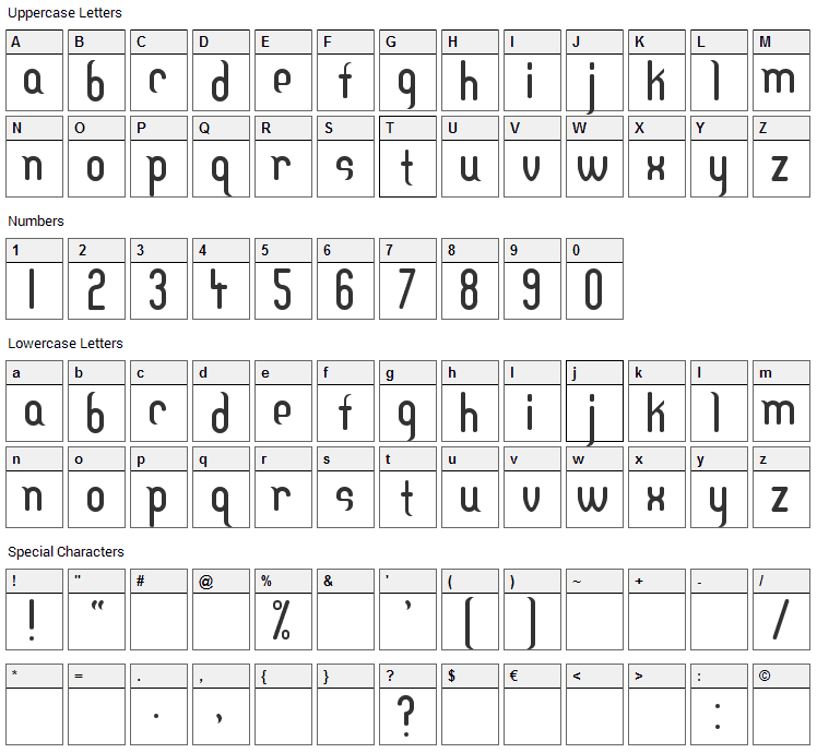 DF Temple Font Character Map