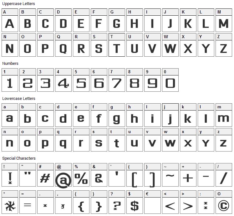 Dhurjati Font Character Map