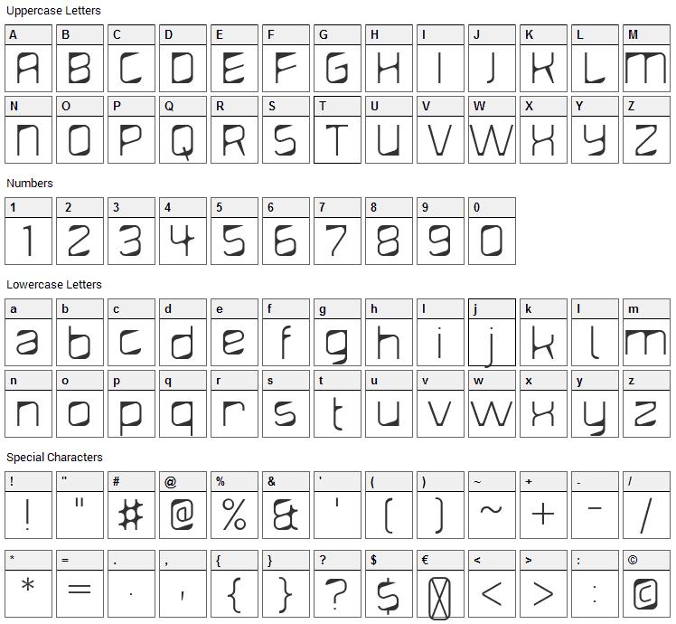 Diagond Font Character Map