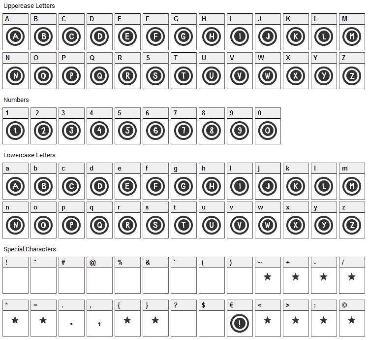 Dialtone Font Character Map