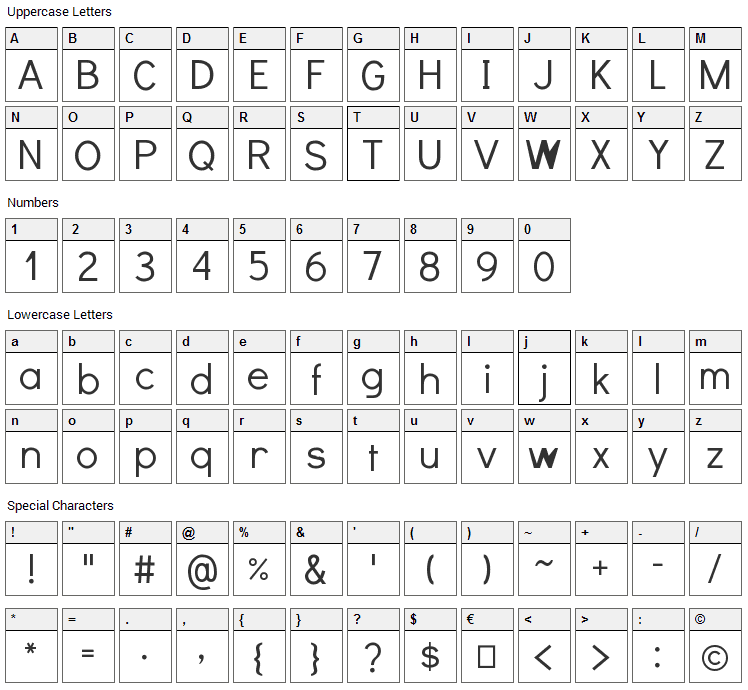 Didact Gothic Font Character Map