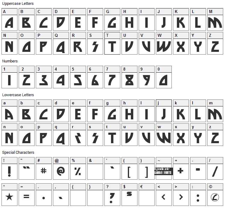 Die Nasty Font Character Map