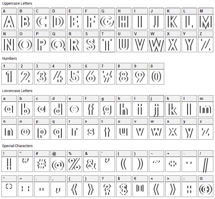 DiffiKult Font Character Map