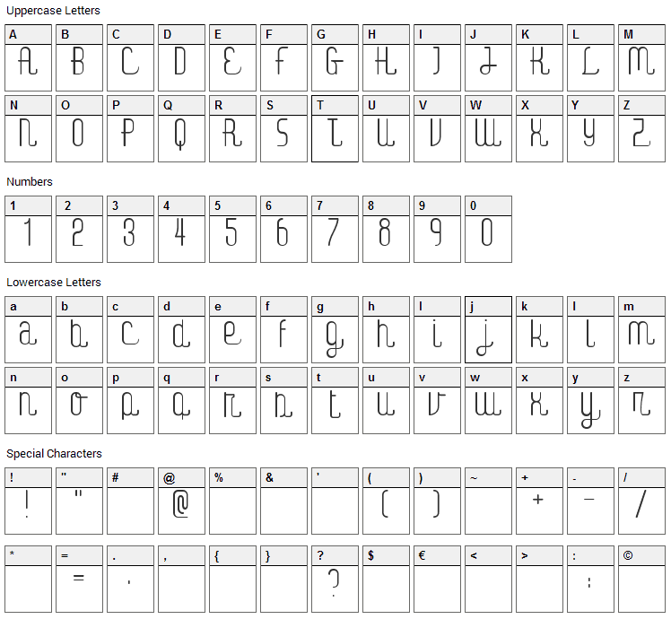 Digital Kauno Font Character Map