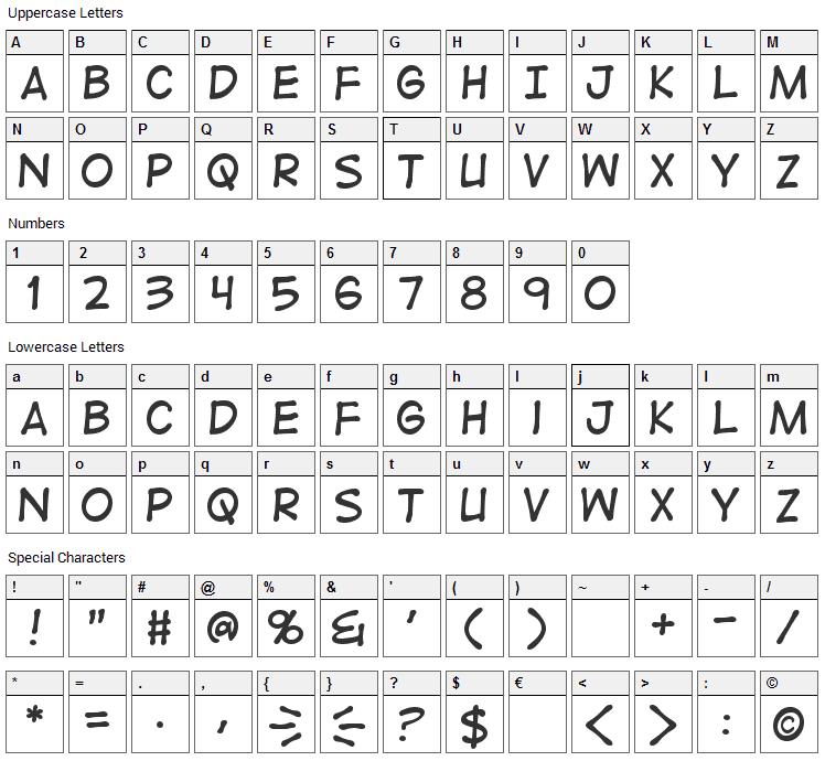 Digital Strip Font Character Map