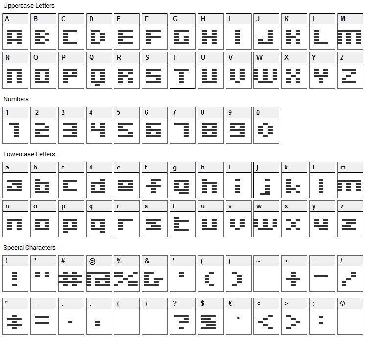 Digitalism Font Character Map