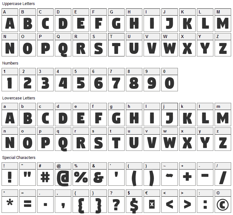 Digitalt Font Character Map