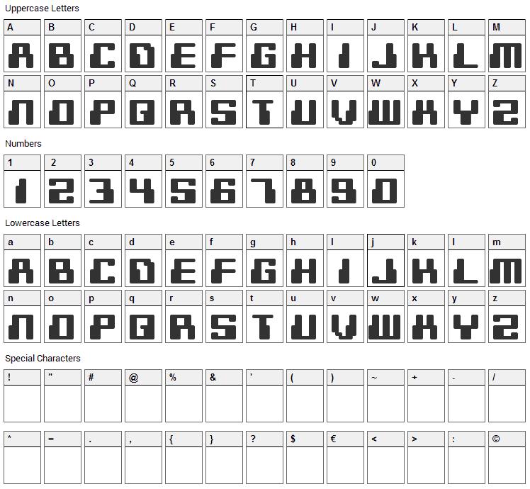 Digitek Font Character Map