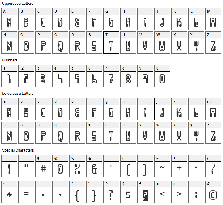 Dignity of Labour Font Character Map