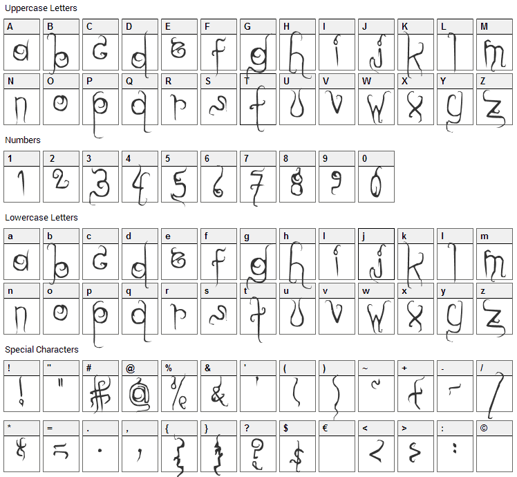 Dilate Font Character Map