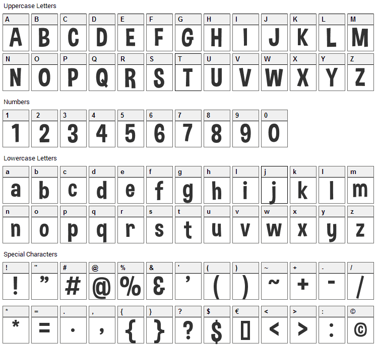 Dimbo Font Character Map