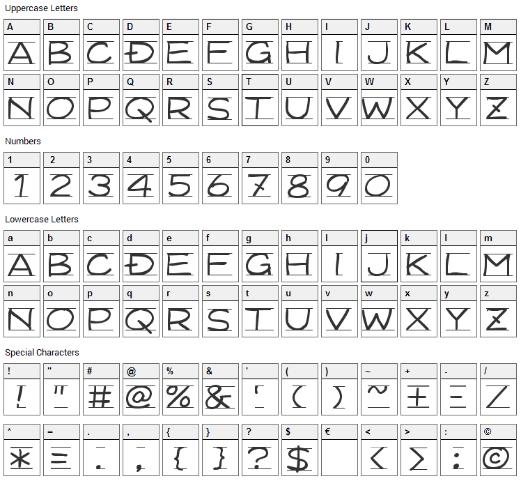 Dimension Font Character Map