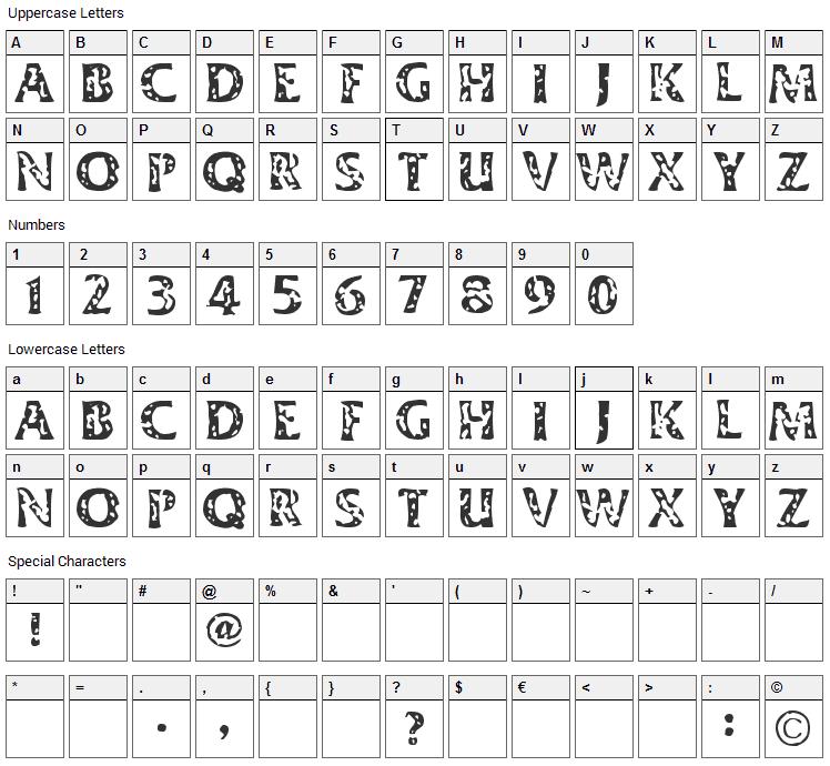 Dimestore Hooker Font Character Map