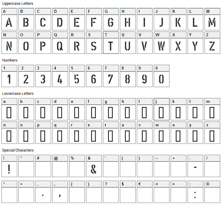 DIN Schablonierschrift Font Character Map