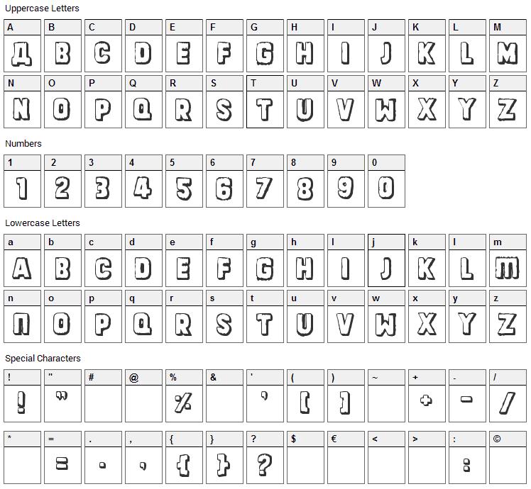 Dinarjev Republika Font Character Map