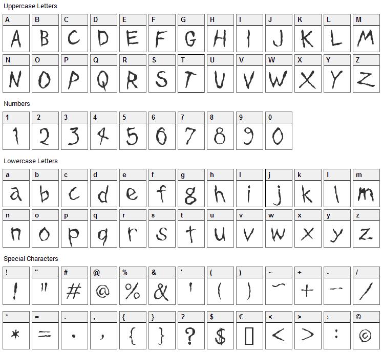 Dinosaur Jr. Font Character Map