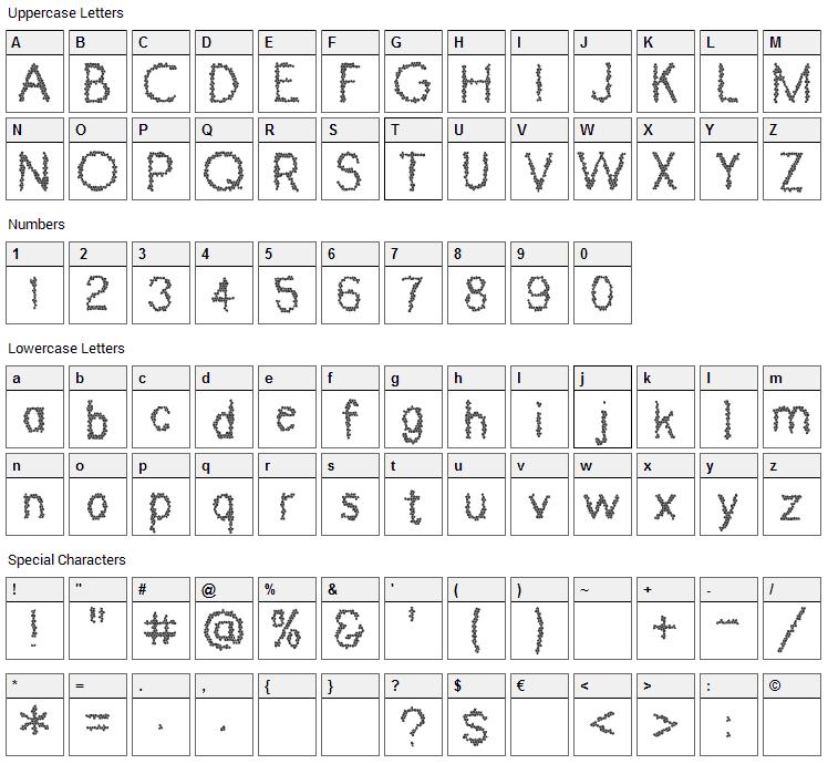 Dinosaur Skin Font Character Map