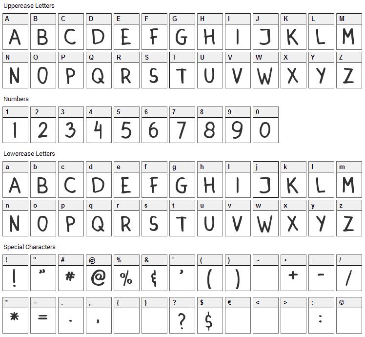 Dinski Casual Handwriting Font Character Map